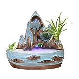 Zlw-shop Außen Springbrunnen/Indoor-Bonsai Indoor Keramik Berg Stein-Brunnen 3 Ebene Wasserfall...
