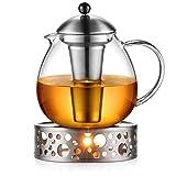 Glastal 1500ml Teekanne mit Stvchen Teebereiter Glas und Edelstahl Teewrmer Teekanne Suit