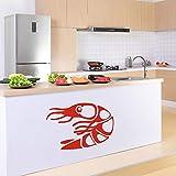 Japanischen Stil Cartoon Garnelen Muster Wandaufkleber Nette DIY Meeresfrüchte Aufkleber Küche...