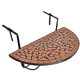 SOULONG Solong Gartentisch Balkontisch faltbar aus Mosaik leicht faltbar Balkontisch Halbrunde...