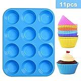 LLNRC Mini Muffinform Silikon,12er Muffin Backform,Backfrmchen Antihafteigenschaft Muffinblech mit...