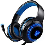 Pro Gaming Headset für PS4 Xbox One PC, Rauschunterdrückung Over-Ear LED PS4 Headset - Kristall...