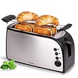 TZS First Austria - Toaster 4 Scheiben Langschlitz 1500W mit Krümelschublade | Brötchenaufsatz |...