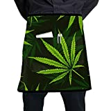 LIANGWE Kitchen Work Apron Cannabis Marijuana Leaves Vintage Cooking Kitchen Aprons with Large...