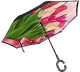 Big Stick Reverse Umbrella Inside Out Regenschirm 2-lagig Faltbarer, winddichter UV-Schutz Tragbar...