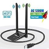 WLAN Stick Adapter USB WiFi Antenne PC Dongle 5GHz/867Mbps 2.4GHz/300Mbps Dual Band 5dBi Netzwerk...