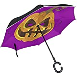 ETGeed Halloween Pumpkin Mask Inverted Umbrella ReverseUpside Down Umbrella