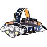 Galapara Stirnlampe, 1500 Lumen USB wiederaufladbarer Scheinwerfer 8 LEDs 8 Modi IPX4 Wasserfeste...