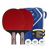 KUQIQI Tischtennisschläger Anfänger Pong Ball Finished Produkt Horizontal Schuss Student 2-Pack...