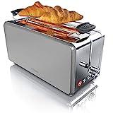 Arendo - Toaster Langschlitz 4 Scheiben - wärmeisolierendes Gehäuse - mit Brötchenaufsatz - 1500W...