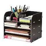 Dokumenten Organizer aus Holz Büro, 4 Fächern, mit Schublade, Zeitschriftenständer,...
