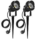 SanGlory 7W LED Gartenleuchten mit Erdspieß Gartenstrahler LED Erdspieß IP65 Gartenbeleuchtung...