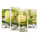 islandburner Bild Bilder auf Leinwand Spa-Stilleben Kerzen Kieselsteine Orchidee Wandbild Poster...