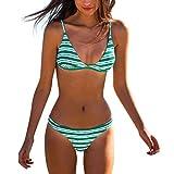 SuperSU-Bademode Damenmode Sommer Klassiker Bikini Striped Print Frenulum Triangel Bikinis Split...