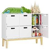 HOMECHO Kommode Kinderzimmer Bücherregal Schrank Spielzimmer Sideboard in weiß mit 6 Fächern...