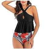 TwoCC Frauen Badeanzug Halfter V-Ausschnitt Gepolsterter Push-Up-BH Bikini Badeanzug Bademode...