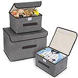 DIMJ 3 Stück Aufbewahrungsboxen mit Deckel und Griff, Faltbare Aufbewahrungskiste für...