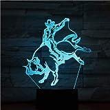 Einzigartiges geschenk stierkämpfer lampe 3d spanischen stil stierkampf led nachtlicht farbwechsel...