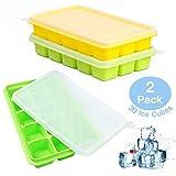 UTAKE Eiswrfel Eiswrfelform LFGB Zertifiziert BPA frei Silikon Eiswrfelschale mit Deckel 2-Stck...