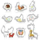 FHzytg 9 Stück Wald Tier Ausstecher Set Fondant Brot Ausstechformen für Kinder, Igel, Kaninchen,...