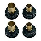 SDENSHI 4 STK. Φ 60mm Schraubkappe Schraubdeckel Adapter für 1000L IBC Container, 25mm/ 32mm...
