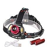 GMtes Starke helle Scheinwerfer USB aufladbare 1 * T6 + 2 * COB LED-Scheinwerfer Camping...