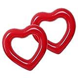 VANKOA 2pcs Aufblasbares Rotes Herz Schwimmen Ring Pool Floss Wassersport Strand Spielzeug