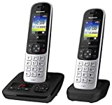 Panasonic Schnurlostelefon KX-TGH722GS mit Anrufbeantworter und zusätzlichem Mobilteil, Babyphone...