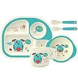 HOMEWINS Kindergeschirr Set aus Bambus 5 teilig - Teller, Schüssel, Löffel, Gabel, Tasse, BPA Frei...