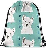 NA West Highland Terrier 3D Print Drawstring Backpack Rucksack Shoulder Bags Gym Bag for Adult...