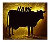 Schlummerlicht24 Led Holz Lampe Nachtlicht Kuh mit Name-n individuelle lustig-e und spaßig-e Deko...
