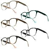 UrbanSky Lesebrille Gil von - runde Kunststoffbrille mit Federscharnieren im 5er-Pack (+1,00 dpt)