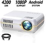 DOOK WiFi Beamer, Kabellos Full HD 1280x800P Spiel Video projektor für Zuhause und die Arbeit, 4200...
