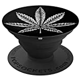 Cannabis Marihuana Weed White Leaf CBD Öltopf 420 Smoking - PopSockets Ausziehbarer Sockel und...