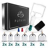 PURAVA [12 Stück] - Schröpfgläser mit Vakuumpumpe - Hochwertige medizinische Schröpfen mit...