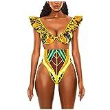 TwoCC Frauen Zwei Stücke Bikini African Print Bikini Set Hohe Taille Bademode Push-Up Gepolsterter...