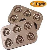 Chlggzw Mini 6-Cup Heart Shaped Donut Pan, Donut Kuchen Pan, Donut-Maschine, 2er-Set Non-Stick Donut...