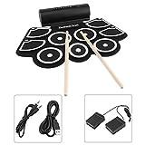 SEXTT Roll Up Drum, verdickte Silikon Übungspads USB-Lade E-Drum Pad Tragbares Eingebauter...