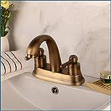 Wasserhahn für Badezimmer, Doppelgriff, antikes Messing, Bachlauf, Wasserhahn für Waschbecken,...