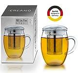 Creano Teeglas All in one 400ml, Groe Teetasse mit Edelstahlsieb und Deckel aus Glas, Teebereiter in...