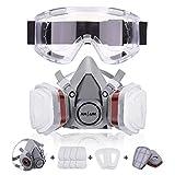 Atemschutzmaske NASUM Schutz Halbmaske mit Schutzbrille für Farbspritz, Staub, Schutz...