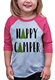 7 ate 9 Apparel Mädchen Raglan-T-Shirt Happy Camper Outdoors - Pink - Small T-Hemd