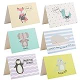 Kesote Dankeskarten Tier Set, 24 Stück Dankes Karten mit 24 Stück Umschläge für Hochzeit...