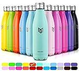 MIKAMEE Trinkflasche Edelstahl airBottle | 350,500,650,750ml Isolierflasche | Doppelwandig Vakuum...