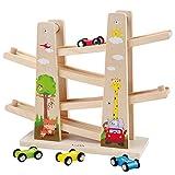 Baobë Kinder Kugelbahn Holzspielzeug, Auto Rennbahn Holz Spielzeugmit 4 Fahrzeuge,Auto Rennbahn...
