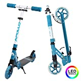 Apollo Scooter LED - Skyracer mit Led Wheels 145mm City Scooter mit Federung, City-Roller klappbar...