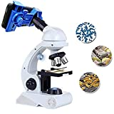 Haudang Mikroskop Kinder Wissenschaft Kit, Anf?nger Mikroskop Kit Blau/Wei? Mit Led 80X 200X Und...