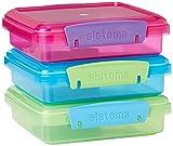 Sistema 41647 Lunch Sandwich Box mit kontrastierendem Clips, 450ml, 3Stck , farblich sortiert