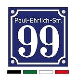 Hausnummernschild Hausnummer Straenname in Emaille Design Alt evtl. mit Abstandhalter