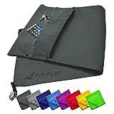 Fit-Flip Fitness Handtuch Set mit Reißverschluss Fach + Magnetclip + extra Sporthandtuch   zum...